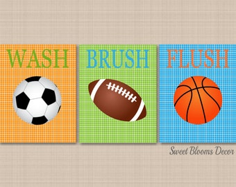 Sports Bathroom Decor Kids Sports Bathroom Wall Art Soccer Football Basketball Bathroom Decor