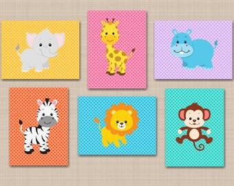 Jungle Nursery Decor,Animals Nursery Wall Art,Safari Nursery Wall Art,Safari Nursery Decor,Monkey Lion Giraffe Elephant-UNFRAMED Set  6 C263