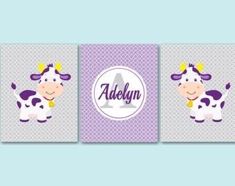 Cows Nursery Wall Art,Purple Gray Nursery Art,Farm Animals Nursery Wall Art,Barnyard Nursery Wall Art-UNFRAMED Set of 3