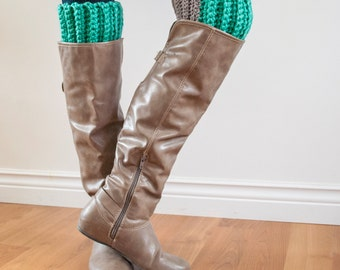 Fashion Colour Block Boot Cuffs - One Size