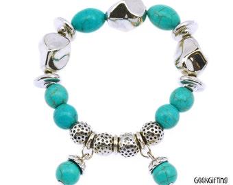 Tibetan Silver and Turquoise Elastic Beaded Bracelet - Tribal/Boho Theme