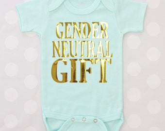 Gender Neutral Gift | Mint BodySuit with Gold Matte
