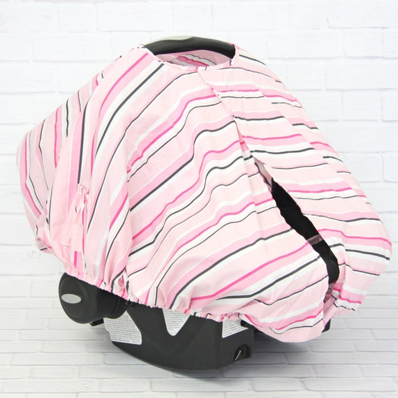 Pink Striped Pink And Gray Car Seat Canopy Cover