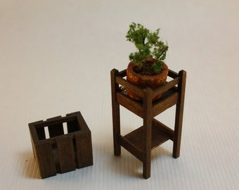 Dollhouse Miniature Handmade Plant Stand & Magazine Rack by Suzanne Seiffert (1/12 Scale)
