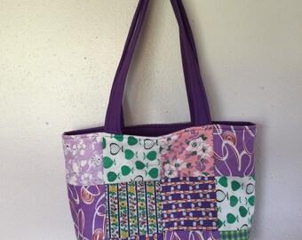 Purple feed sack purse