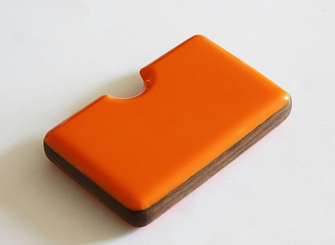 Orange business card holder with walnut detail for Orange business card holder