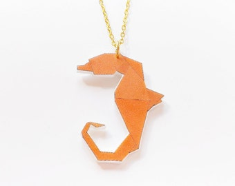 Origami seahorse necklace orange
