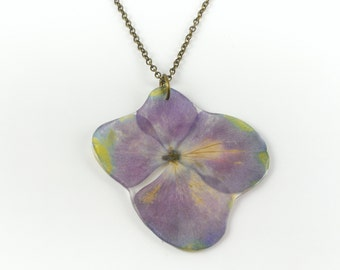 Flowers necklace purple hydrangea