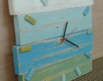 coloured wall wood clock