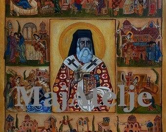 Saint Nectarios of Aegina, Greek orthodox icon, Handpainted Hagiography Icon, Art for digital download, Printable