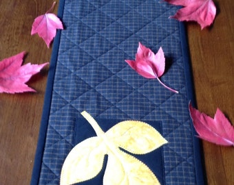 Exceptional Narrow Fall Table Runner With Gold Batik Leaves