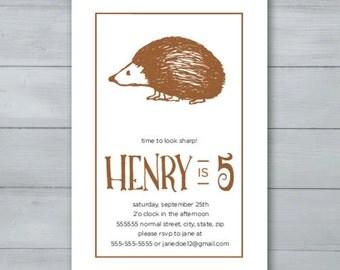Hedgehog Birthday Party Invitation  |  Hedgehog Invite  |  Porcupine Birthday Party Invitation  |  Porcupine Invite