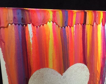 Neon Crayon Heart Glitter Art