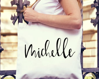 Cute, Custom Name Tote Bag- large