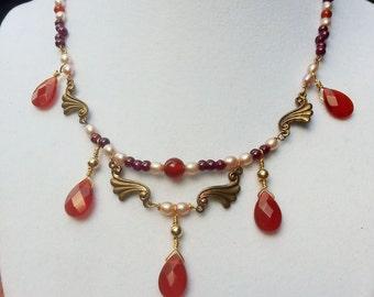 5 drop carnelian gemstone necklace