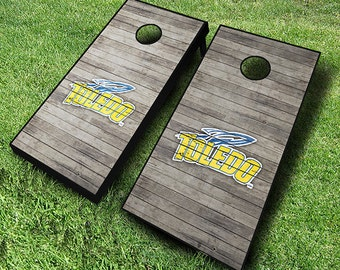 Officially Licensed Toledo Rockets Distressed Cornhole Set with Bags - Bean Bag Toss - Toledo Cornhole - Corn Toss - Corn hole