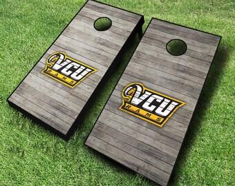 Officially Licensed VCU Rams Distressed Cornhole Set with Bags - Bean Bag Toss - VCU Cornhole - Corn Toss - Corn hole