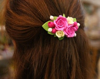 Floral barrette, handmade Flowers jewelry, polymer Clay hair accessories, barrette, flower barrette