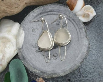 Natural white sea glass sterling silver earrings.