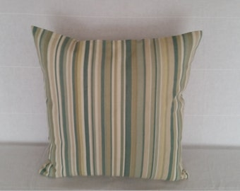 "Decorative Pillow Covers, 17"" x 17"" Multi Green Stripe Pillow Cover"