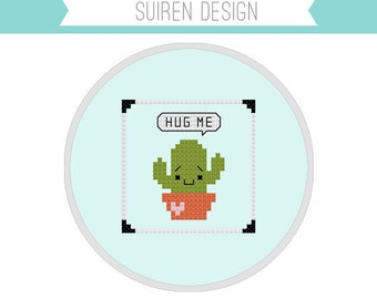 Hug Me Cactus Cross Stitch PDF Digital Download