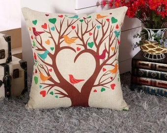 Tree of Hearts and Birds - Pillow Cover