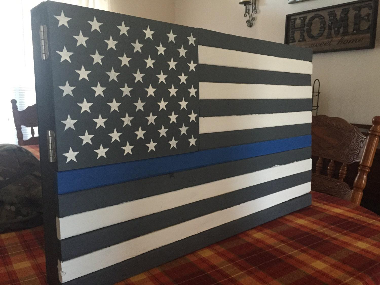 Thin Blue Line American Flag Gun Cabinet