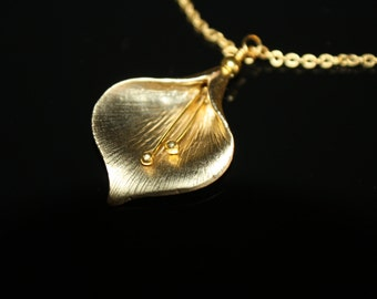 Elegant Gold Plated Calla Lily Handmade Necklace