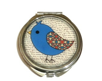Bird mirror, Blue Bird mirror, Bird accessories, animal, Compact mirror, Pocket mirror, birthday gift, girls gift, kids accessories