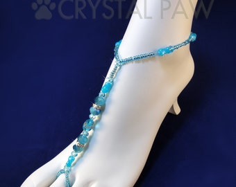 Beaded Stretch Foot Jewelry.  Beach Wedding Accessory. Blue and Crystal Beads Barefoot Sandals. Anklets. Pair. Set of 2 pcs.