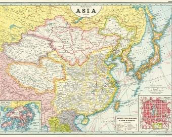 Cavallini Map of Asia Wrap Paper