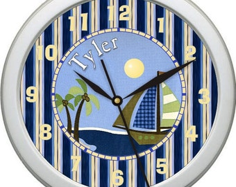 "Ahoy Mate Sail Boat 10"" Personalized Nursery Wall Clock"