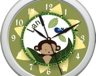 "Cocola Monkey Personalized 10"" Nursery / Children Wall Clock"