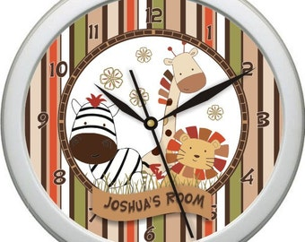 "Nali Jungle Personalized 10"" Nursery / Children Wall Clock"