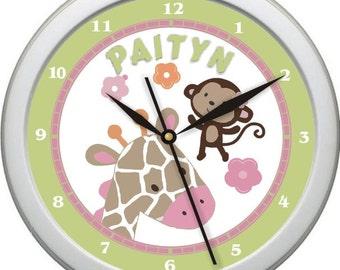 "Jungle Jill Pink and Green Personalized 10"" Nursery / Children Wall Clock"