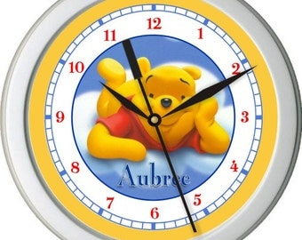 "Pooh Bear In The Clouds Personalized 10"" Nursery / Children Wall Clock"