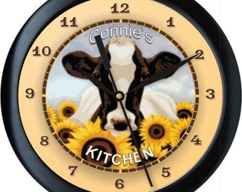 "Sunflower Cow 10"" Personalized Kitchen Wall Clock"