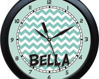 "Blue Aqua Chevron 10"" Wall Clock Personalized Girls Room Decor Gift"