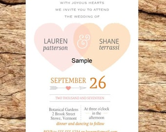 100 Personalized Custom Rustic Two Hearts Romantic Wedding Invitations Set