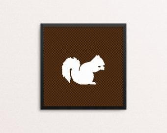 Squirrel Woodland Creature Silhouette, square 10x10 Art Decor Digital Print