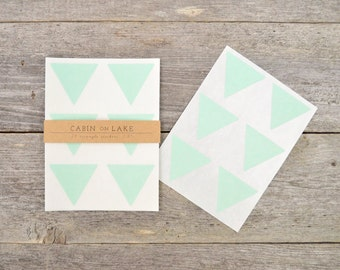 Large Mint Green Triangle Stickers - 24 pc