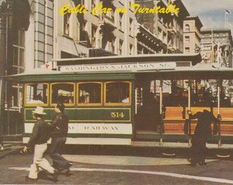 San Francisco, California Postcard - Cable Car on Turn Table at Powell and Market Streets 1954