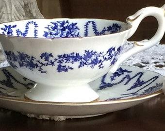 Coalport Tea Set #4066 Cup and Saucer; c1940s Blue on White