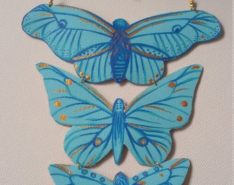 Turquoise Butterfly Necklace/pendant handpainted canvas/necklace