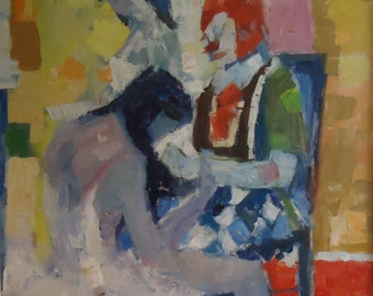 Original Painting Impressionist Impasto Mid-Century Modern Ballerinas Clown Listed Artist Italo Botti/George Barrel New York/Chicago 1970s