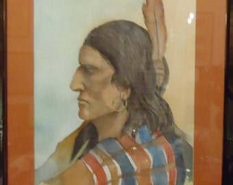 Watercolor Painting Original Native American Plains Warrior c. 1990 Signed Jean Dohr after Charles M. Russell