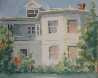 Watercolor Original Modern Mid-century painting architectural Colonial Revival house c.1910 Edwardian Period/Art Noveau signed