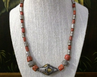 19'' Silver And Red Coral Necklace