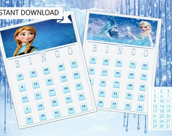 Frozen Bingo Game with 15 unique Bingo cards and 75 medium calling cards - Printable, INSTANT DOWNLOAD