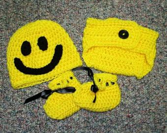 Crochet Smiley Face Beanie & Diaper Cover Set